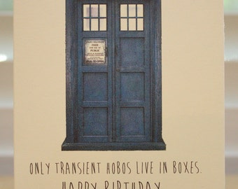 Doctor Who Birthday card - Tardis  - Dr Who - geeky - party - awesome - funny