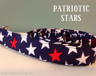 """Red, White and Blue """"Patriotic Stars"""" Dog Leash"""