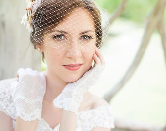 bridal bandeau veil, wedding birdcage veil, small pale pink net veil, white bridal bird cage veil - BLUSHY - many colors, veil only