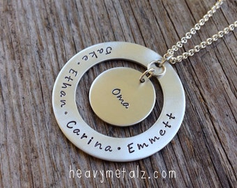 Sterling Silver Hand Stamped Personalized Pendant Necklace