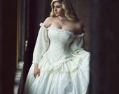 Cinderella Wedding Gown in Cotton - Summer Bridal Gown- Fairytale Fantasy Ballgown -Custom to Order