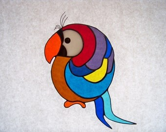 Stained Glass Colorful Parrot Suncatcher