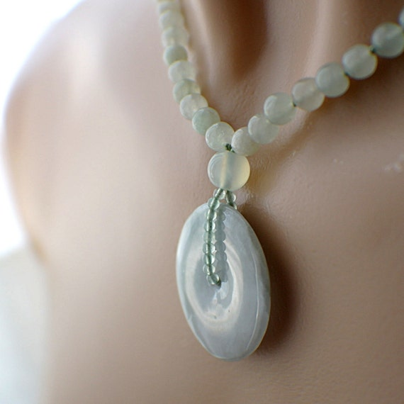 jade donut necklace gemstone pendant 30mm silver magnetic