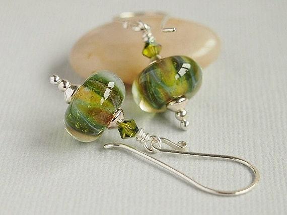 Olive Green Earrings, Boro Lampwor, Beaded Earrings, Amber Sparkle, Sterling Silver, Artisan  - CENTAURUS