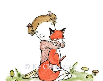 Children's Art -- Fox Girl -- Archival Print