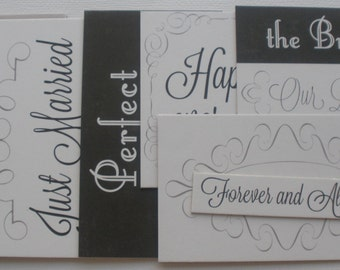 JUST MARRIED Chipboard Die Cuts: Journaling Cards / Titles / Quotes / Picture Cards