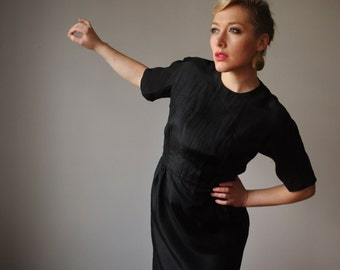 1950s Black Silk Evening dress, size Extra Small to small