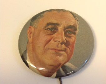 FDR Portrait Campaign Button