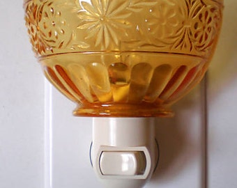 Indiana Glass Amber Daisy Vintage Depression Glass Custom Made Night Light