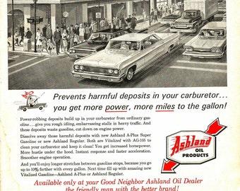 Vintage Magazine Car Ad - Auto Print - 1965 Ashland Motor Gasoline - Magazine Illustration - Vintage Advertisement Art - 1965