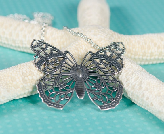 Butterfly Necklace, | Silver | Pendant | vintage, filigree, nature-inspired, garden, pendant, womens, girls, gift, jewelry, Handmade
