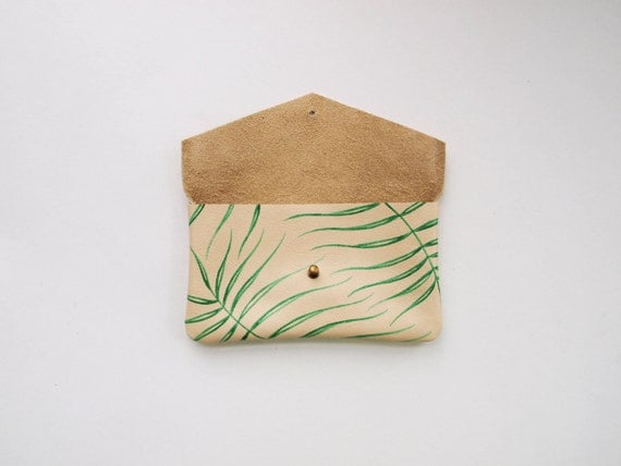 Wild Fern Leaf Leather Sunglasses Case