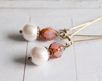 On the beach - elegant long length beaded earrings