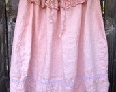 Upcycled Pink Linen Skirt Embellished Dress Altered Couture Strapless Cowgirl Drawstring Tunic Top Repurposed Clothing Vintage Pink Trim