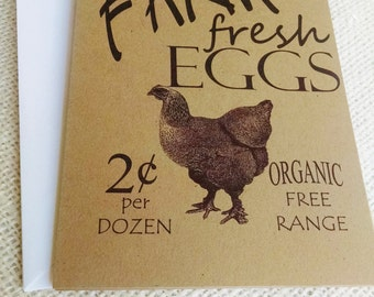 Chicken Cards, Farm Fresh Eggs Cards, Blank Set of 10