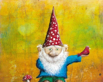 "Gnome Print  -  Gnome Art -  Cute Art -  Children's Art   8""x10"" Art Print"