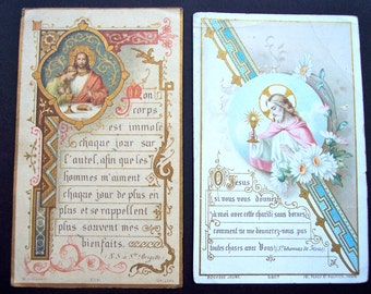 Antique French First Communion Cards Collectible Home Decor Souvenir Scrapbooking Mixed Media Paper Craft Supplies Paper Ephemera Catholic