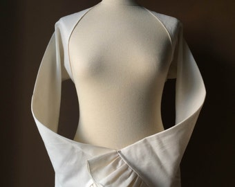 Ruffles - Handmade Ivory Unbleached Cotton Shrug Bolero Jacket with Long Sleeves - Made to Order
