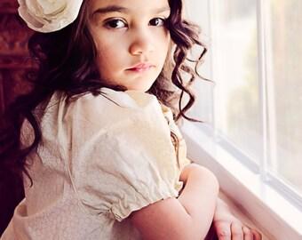 Rose Headband -  Boho headband - flower girl headband - ivory headband - lace headband -  Wedding headband -  Photo shoot props