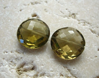 Olive Green Quartz Faceted Coin Beads 13.75mm -  Matched Gemstone Pair