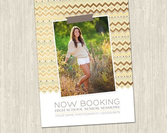 High School Senior Now Booking Gold Tribal Photoshop Templates for Photographers   Photography Marketing Card   Instant Download MM2003
