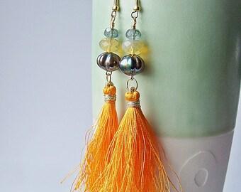Jaipur Earrings in Tangerine  - Silk Tassel Earrings.