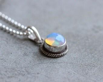 Ethiopian opal pendant - Natural Opal pendant - Gemstone - Artisan pendant - october birthstone