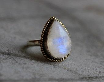 Dual tone 18k Gold  Silver  ring - Rainbow Moonstone Ring - Ethnic - Statement ring - Artisan ring - Sterling silver- handmade ring