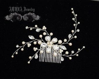 Ivory Pearls Rhinestone Bridal Hair Comb, Bridal Hair Vines, Wedding Hair Accessories, Rhinestone Swarovski Pearls Head Piece