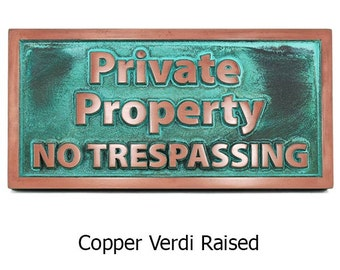 "Modern Private Property No Trespassing Sign 14"" x 7"" by Atlas Signs and Plaques"