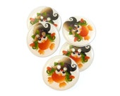 "5 Witch Owl Halloween  Buttons.  5 Handmade Buttons.  3/4"" or 20 mm  Sewing Buttons."