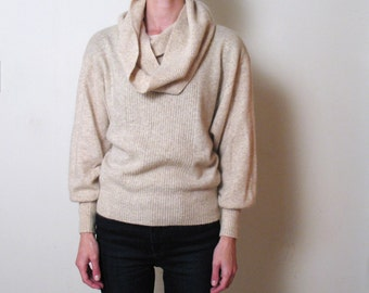 wool & angora DOLMAN SLEEVE COWL neck sweater, s - m