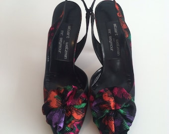 Vintage Stuart Weitzman Bright Pumps / Vintage High Heels Bow Shoes / size 7.5