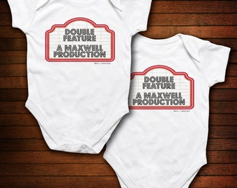 TWINS - Movie Sign - Double Feature PERSONALIZED - Funny Baby Gift
