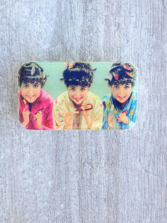 3 Geisha Vintage ad Pill Box, Slider Tin, Mint Tin