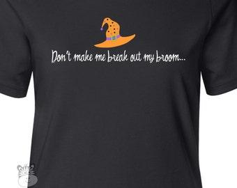 Funny Halloween shirt with witch hat womens custom DARK Tshirt - great shirt for Halloween