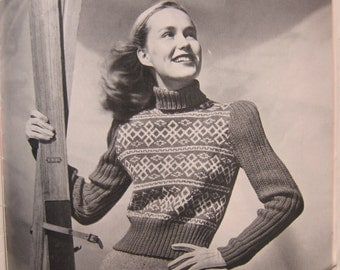 Vintage Knitting Patterns in Coats & Clark's Learn to Knit, Book No. 234, 16 Patterns from the 1940s