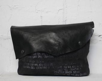 no. 114 Black Leather Clutch / Gray Bag Canvas Clutch Bag / Black Pouch