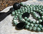 Green Spot Jasper Mala Prayer Beads Buddhist Rosary with black accents