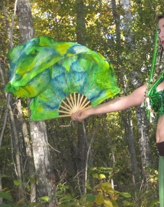 Lotus Flag Fans - Short Silk dance fans - veil fans - fan veils prayer flags RTS OOAK