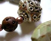 Petrified wood jewelry * carved wood * organic bead jewelry * bohemian style