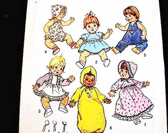 1970s Baby Doll Clothes Pattern Simplicity 15 inch to 16 inch Dresses Hats Romper Bunting for dolls Vintage Sewing Pattern
