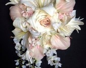 Cascading Bride's Bouquet with Blush Pink Calla Lilies and Hydrangeas, Creamy Roses, Wisteria and Tiger Lilies