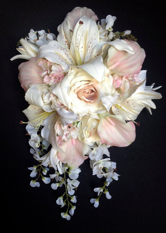 Cascading Bride's Bouquet with Blush Pink Calla Lilies and