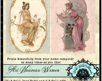 Bohemain Digital Collage Sheets, Art Nouveu, Vintage Postcard, ACEO, Digital Art, Hang Tags, Truth Cards, or Wallet cards, Altered Art,