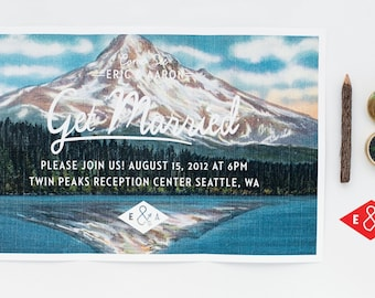 Wedding Invitation - Folded Vintage Mountain Postcard Invitation set