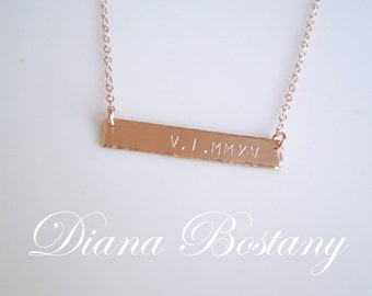 Roman Numeral Necklace, Gold Bar Necklace, Date Necklace, Personalized Necklace,  Wedding Day, Mothers Necklace, Anniversary Gift