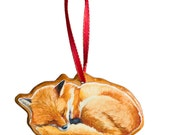 Sleeping Fox Wood Christmas Ornament, Handmade Woodland Ornament by Cindy Day