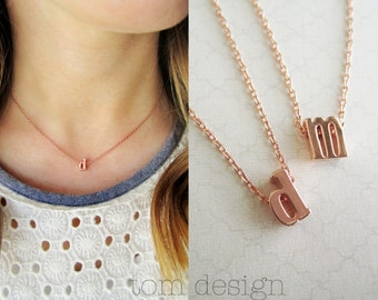 Initial Necklace Lowercase - Gold Silver Rose Gold Pink Gold Letter Neckalce Custom Personalized Jewelry Bridesmaid Gift Wedding Dainty