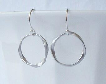 Summer Sale! Small Silver Twist Dangle Earrings